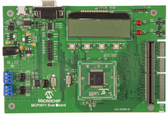 MCP3911 integrated analogue front end evaluation board