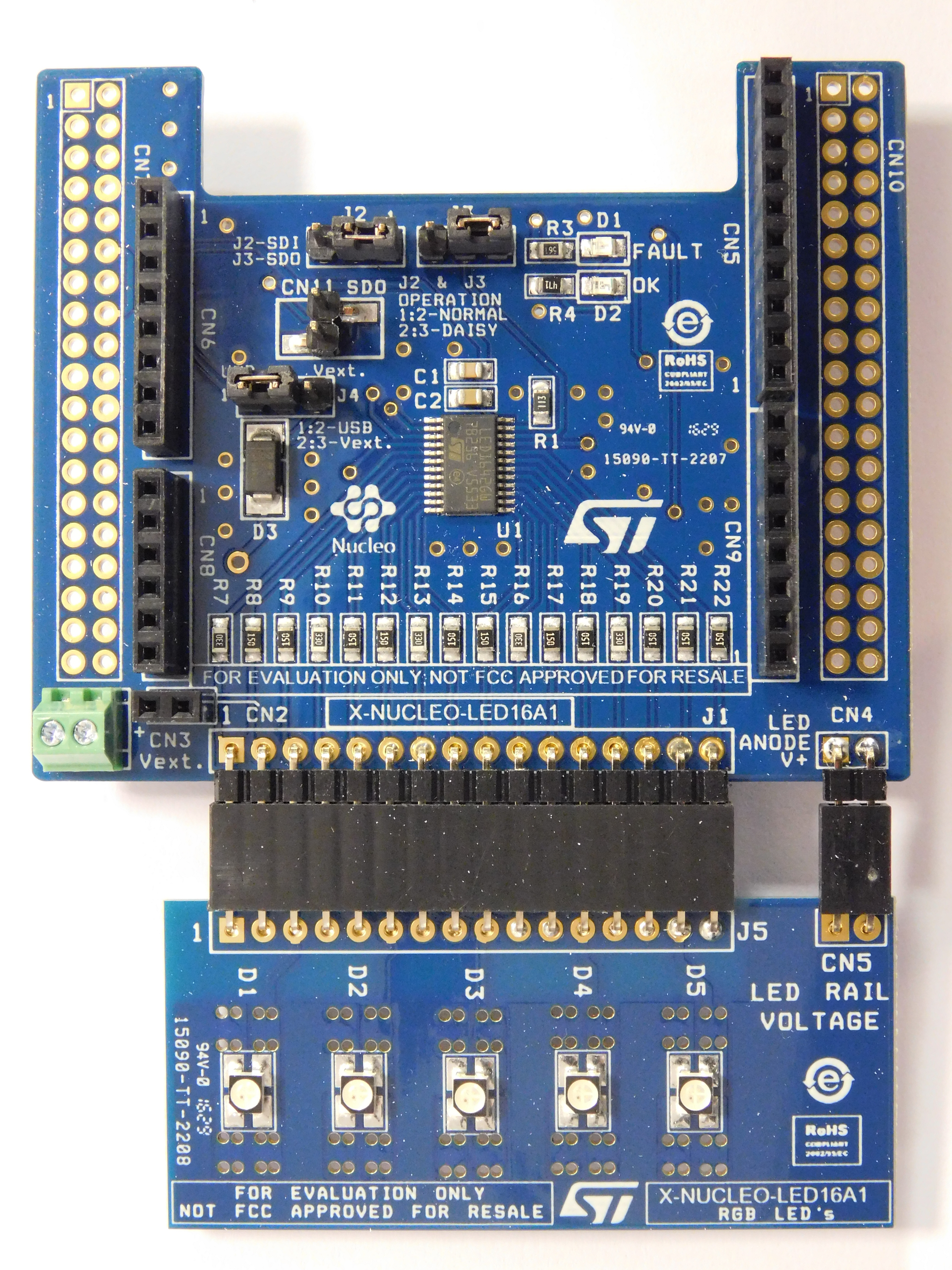 16 channel LED driver expansion board based on LED1642GW for STM32 Nucleo