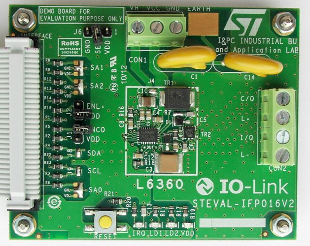 IO-Link communication master transceiver demonstration board based on the L6360
