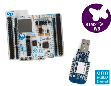 Bluetooth™ 5 and 802.15.4 Nucleo Pack including USB dongle and Nucleo-68 with STM32WB55 MCUs, supports Arduino™ Uno V3 and ST morpho connectivity